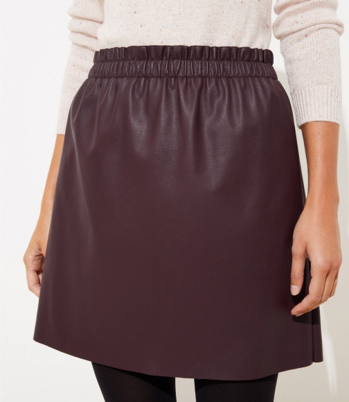 Loft Faux Leather Pull On Skirt