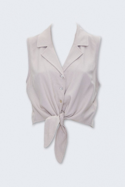 Forever21 Forever 21 Self-Tie Cropped , Taupe Shirt