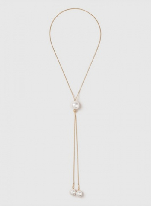 Dorothy Perkins Gold Pearl Effect Lariat Necklace