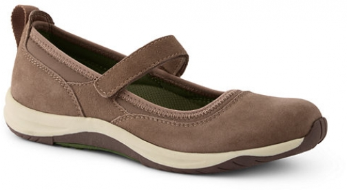 Lands' End Women's Comfort Mary Jane Suede - Lands' End - Brown - 6 Shoes