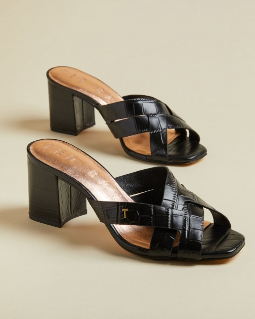 Ted Baker Leather Croc Effect Mules Shoes