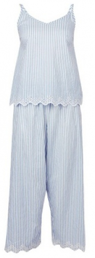 Dorothy Perkins Blue Stripe Print Embroidered Cotton Set Pyjama