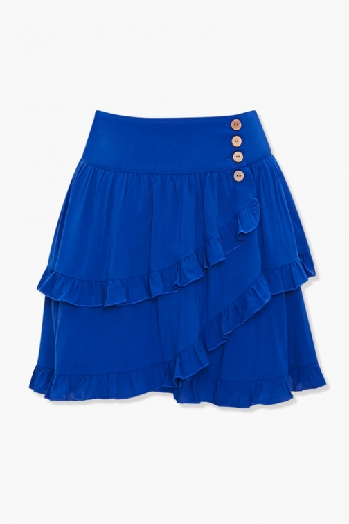 Forever21 Forever 21 Tiered Ruffle-Trim , Blue Mini Skirt
