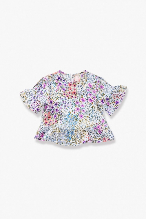 Forever21 Girls Floral Print (Kids) At Forever 21 , Cream/multi Top
