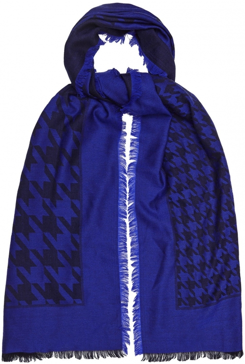 Reiss Millie - Lambswool Dogtooth Checked Cobalt, Womens Scarf