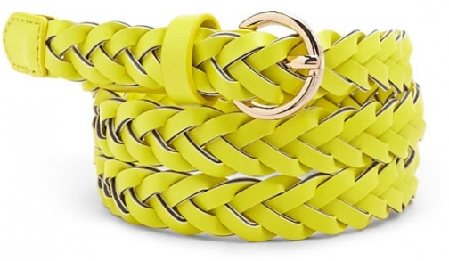 Forever21 Forever 21 Faux Leather Braided Hip , Lime Belt