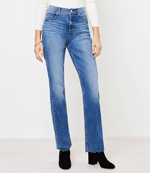 Loft Relaxed Straight Classic Mid Vintage Wash Jeans