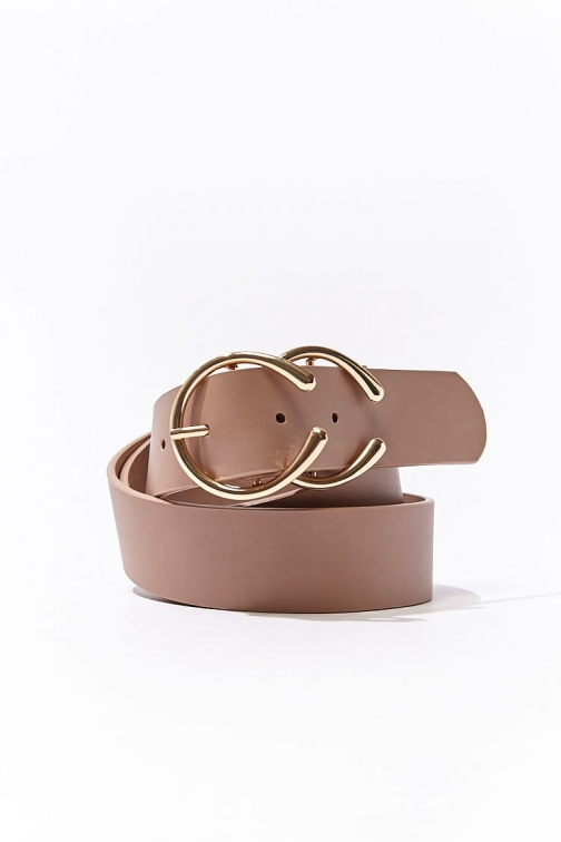 Forever21 Forever 21 Faux Leather Hip , Taupe/gold Belt