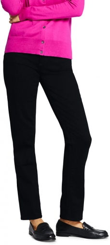 Lands' End Women's Mid Rise - Black - Lands' End - Black - 2 30 Straight Leg Jeans