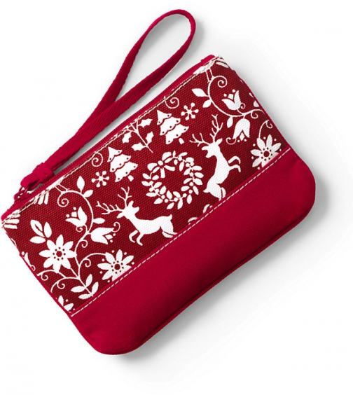 Lands' End Small Christmas Print Canvas Zipper - Lands' End - Red Pouch
