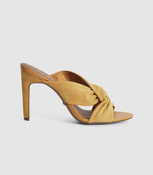 Reiss Ella - Leather Twist Front Heeled Mules Light Tan, Womens, Size 8 Shoes
