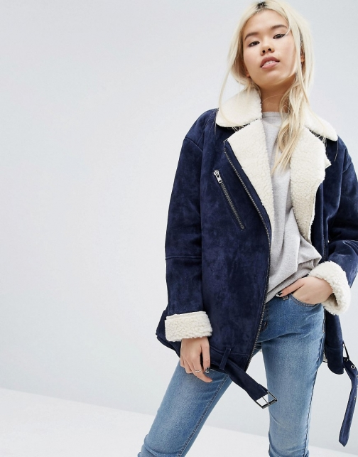 Asos White WHITE Suede With Borg Lining Biker Jacket