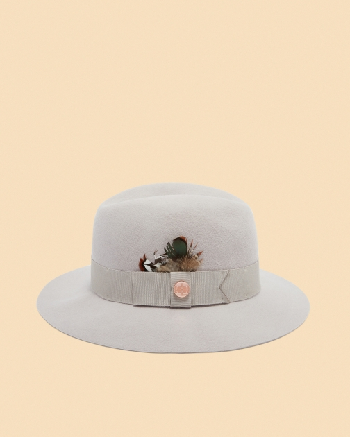 Ted Baker Feather Trim Fedora Fedora Hat