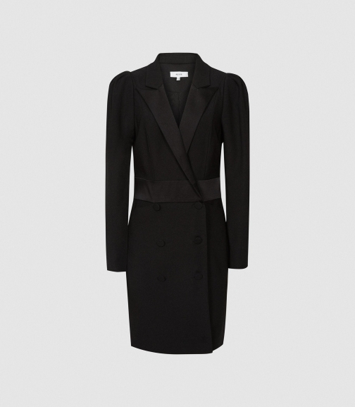 Reiss Avani - Puff Sleeve Tuxedo Black, Womens, Size 4 Dress