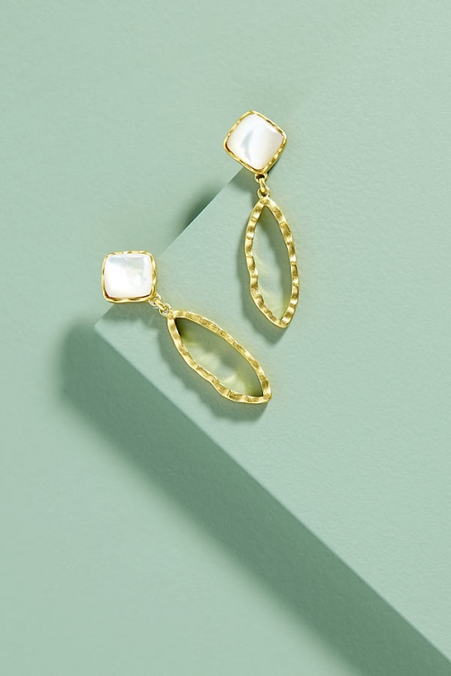 Anthropologie Christina Green Deco Ovate Earring