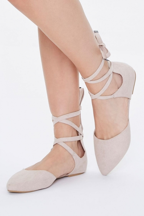 Forever21 Forever 21 Pointed Lace-Up , Nude Flats