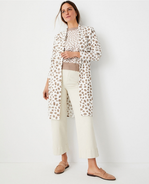 Ann Taylor Animal Print Knit Open Cardigan