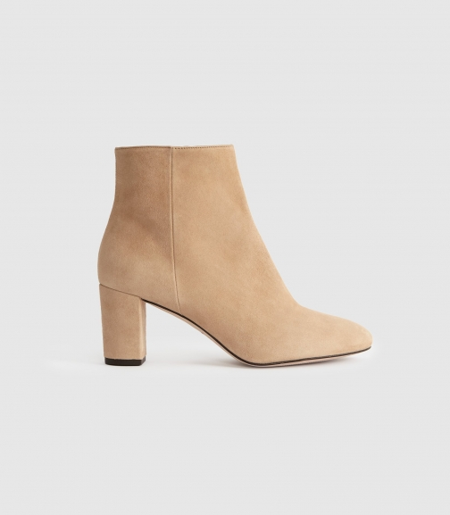 Reiss Florens Suede - Suede Block Heeled Neutral, Womens, Size 4 Boot