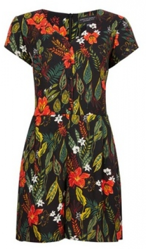 Dorothy Perkins Black Tropical Print Button Playsuit