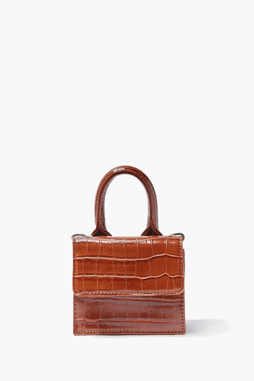 Forever21 Faux Croc Leather At Forever 21 , Brown Crossbody Bag