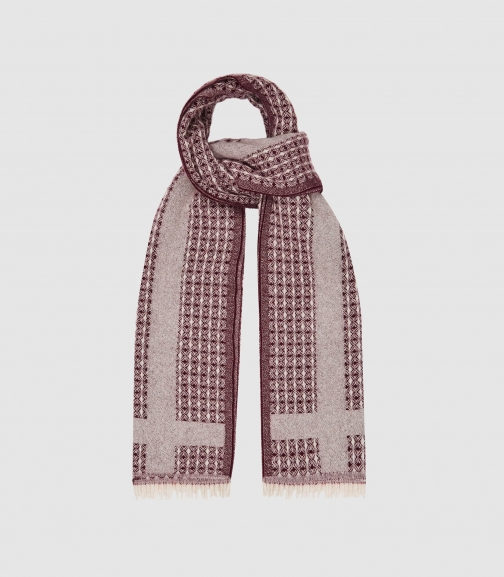 Reiss Claire - Textured Berry, Womens Scarf