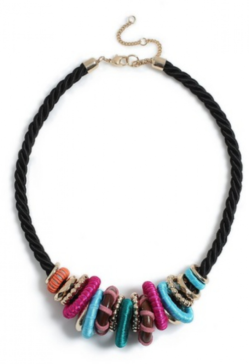 Dorothy Perkins Multi Colour Bright Fabric Ring Necklace