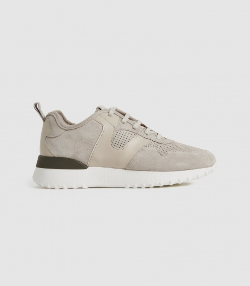 Reiss Zenna - Suede Taupe, Womens, Size 4 Trainer