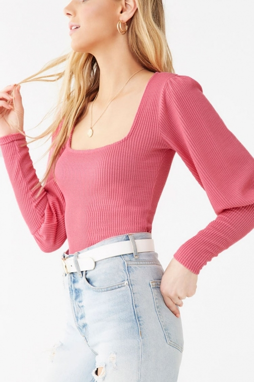 Forever21 Forever 21 Ribbed Balloon-Sleeve , Pink Top