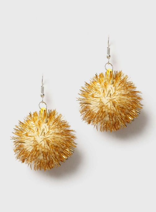 Dorothy Perkins Womens Gold Christmas Tinsel - Gold Earring