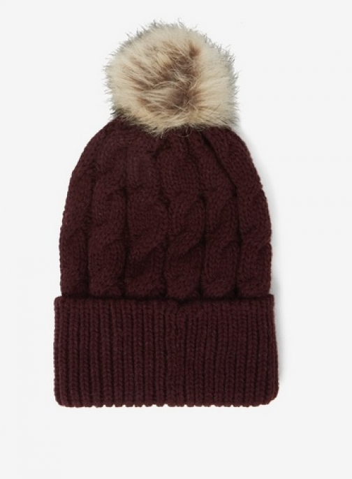 Dorothy Perkins Womens Burgundy Cable Knit Pom Pom - Red, Red Hat