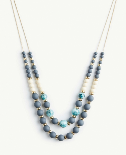 Ann Taylor Matte Beaded Statement Necklace