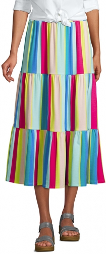 Lands' End Women's Knit Tiered - Lands' End - XS Midi Skirt