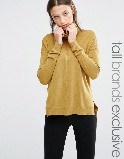 Asos Noisy May Tall Roll Neck With Dipped Hem Jumper