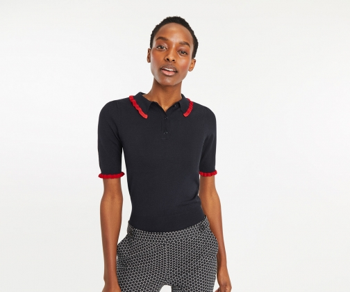 Oasis Lesley Frill Polo Jumper