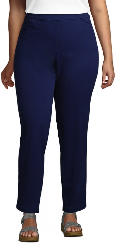 Lands' End Women's Plus Size Mid Rise Pull On Ankle Pants - Lands' End - Blue - 16W Chino