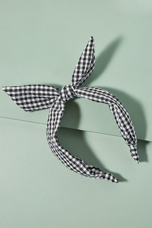 Anthropologie Gingham Knotted-Bow Headband Headwear