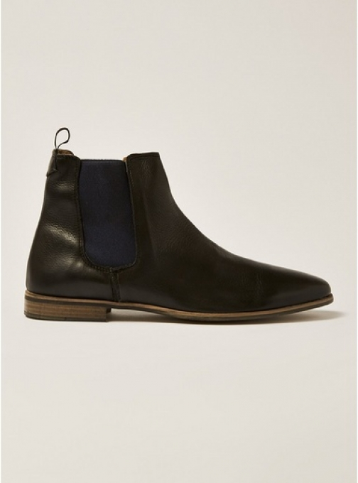 Topman Mens Black Leather Track Chelsea , Black Boot