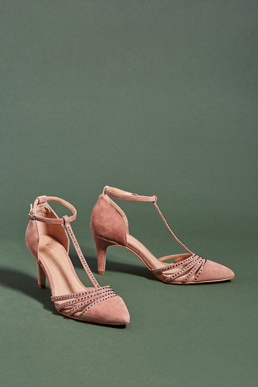 Anthropologie Party-Ready T-Strap Heels - Pink, Size Eu Heeled Sandal