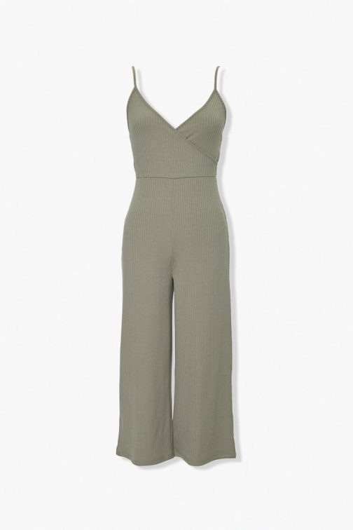 Forever21 Forever 21 Surplice Cami , Green Jumpsuit