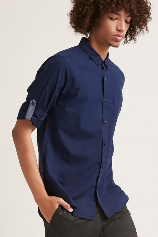 21 Men Button-Front Roll-Tab Sleeve At Forever 21 , Navy Shirt