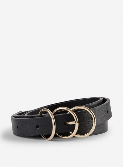 Dorothy Perkins Black Curve 3 Buckle Belt