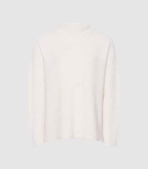 Reiss Lila - Ribbed High Neck Cream, Womens, Size XS Jumper