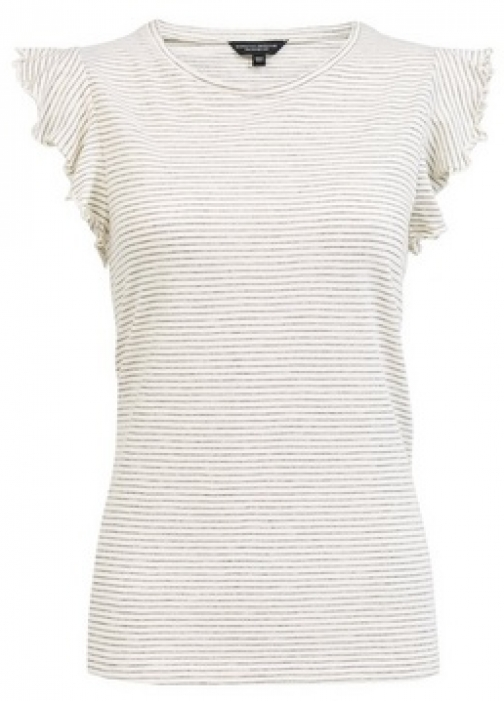 Dorothy Perkins White Ruffle Sleeve T-Shirt