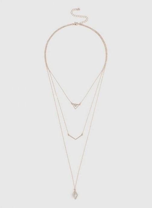 Dorothy Perkins Womens Rose Gold Multi Row Crystal - Pink, Pink Necklace