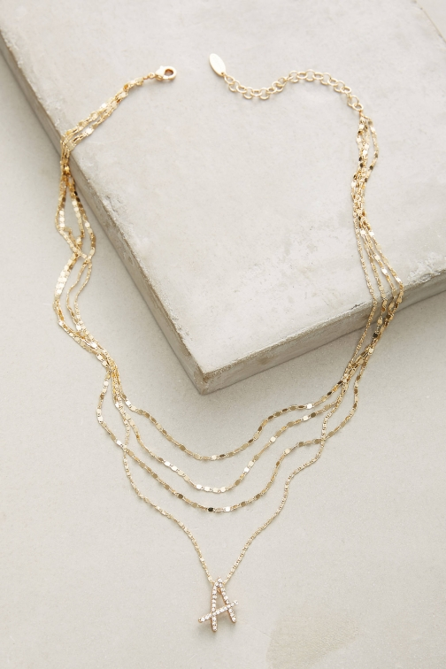 Anthropologie Layered Monogram Necklace