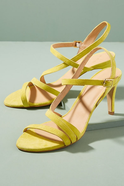 Anthropologie Sahabi Suede Heels - Yellow, Size Heeled Sandal