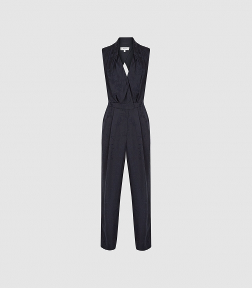 Reiss Azra - Jacquard Open Back Navy, Womens, Size 8 Jumpsuit