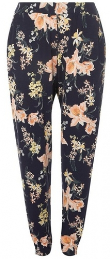 Dorothy Perkins Womens **DP Curve Navy Tropical Print Jersey Joggers- Blue, Blue Athletic Pant