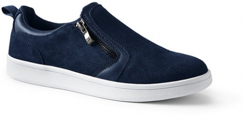 Lands' End Women's Suede Zip Sneakers - Lands' End - Blue - 8H Trainer
