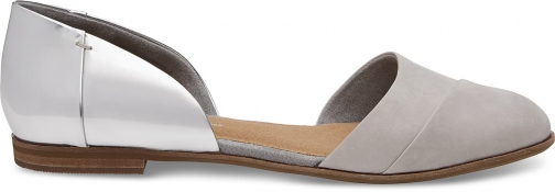 Toms Silver Specchio Grey Leather Women's Jutti D'orsay Shoes Flats